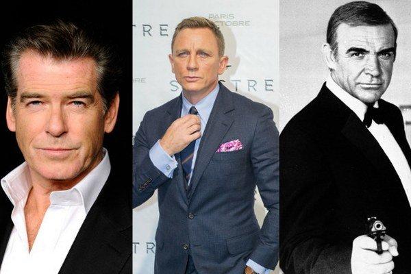 Zľava: Pierce Brosnan, Daniel Craig, Sean Connery
