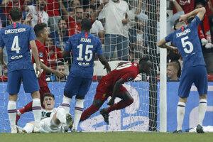 Sadio Mané skóruje v Superpohári UEFA 2019 medzi FC Liverpool - Chelsea Londýn.