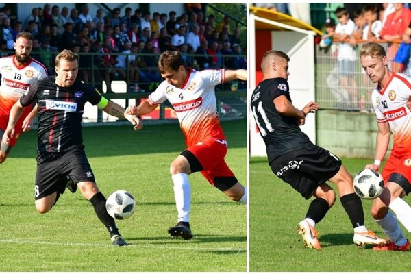 FC ViOn zmaril nádeje snaživých domácich po hodine hry. Vľavo Ďubek v obkolesení Peciara a Benka, vpravo Benčat a Švec.