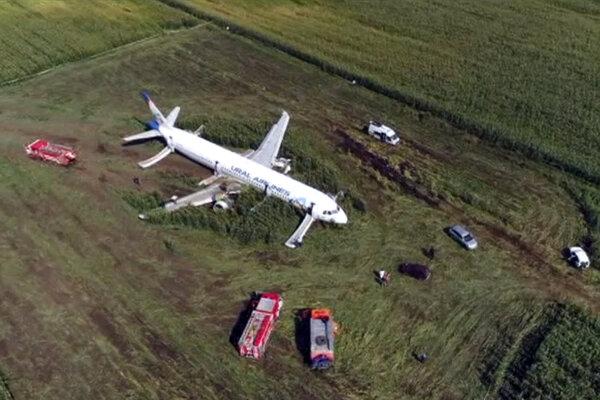 A321 spoločnosti Ural Airlines po núdzovom pristátí.