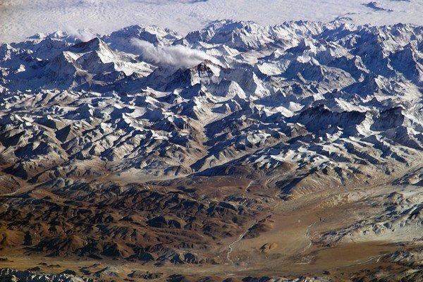 Himaláje a Tibetská náhorná plošina z kozmu.