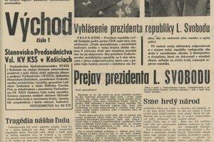 Noviny Východ priniesli v tieto dni aj reportáž z obsadenej budovy Východoslovenských tlačiarní - text vpravo dole pod titulkom: Sme hrdý národ.