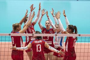 Slovenské volejbalistky sa radujú z víťazstva nad Bieloruskom na ME vo volejbale 2019.