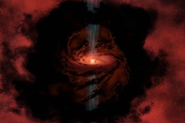 Vznikajúca hviezda chŕli do svojho okolia materiál.
