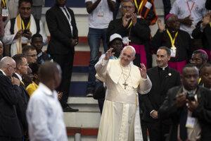 Pápež František počas prejavu v mozambickom Mapute.