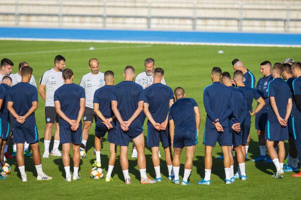 Slovenskí futbalisti pred zápasom Slovensko - Chorvátsko v kvalifikácii EURO 2020.