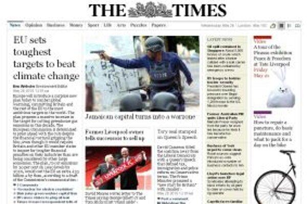 Nový web britských Timesov má jednoduchý vzhľad a viac pripomína svoju printovú verziu. O mesiac sa za jeho titulnú stranu zadarmo nik nedostane - ani Google.