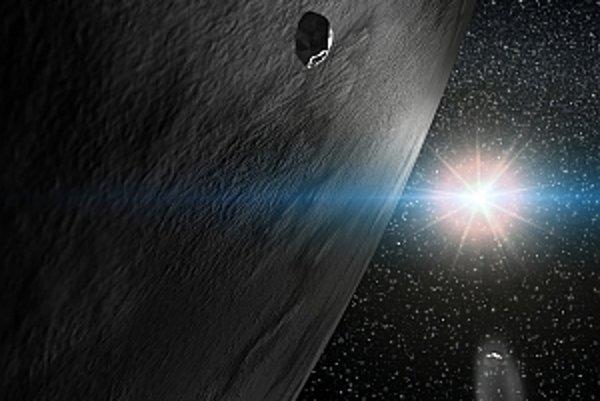Na snímke umelecká predstava planétky 24 Themis a dvoch menších členov jej rodiny, z toho jedného s kometárnou aktivitou. V pozadí jasne žiari Slnko.