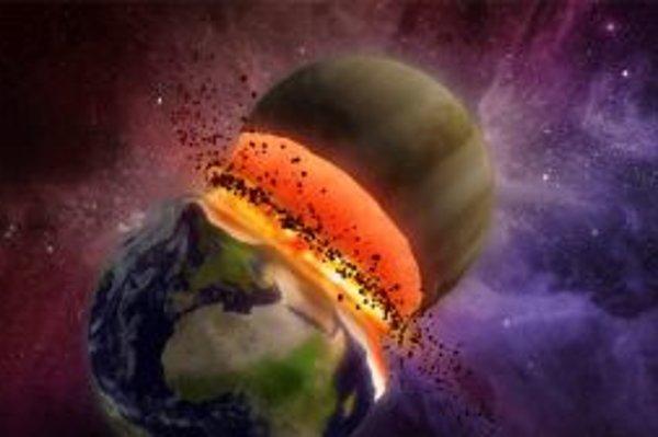 Umelecká vízia najnepríjemnejšieho dôsledku kaskády javov, na začiatku ktorej by stálo gravitačné ovplyvnenie Merkúra Jupiterom: zrážky Zeme s Venušou, planétou, ktorá je hmotnostne i hustotou Zemi v rámci slnečnej sústavy najpodobnejšia. Našťastie má spu