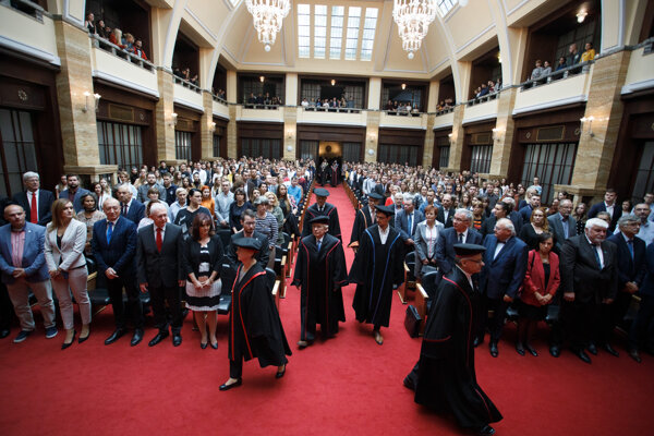 Slávnostné otvorenie 101. akademického roka 2019/2020 v Aule Univerzity Komenského na Šafárikovom námestí v Bratislave.