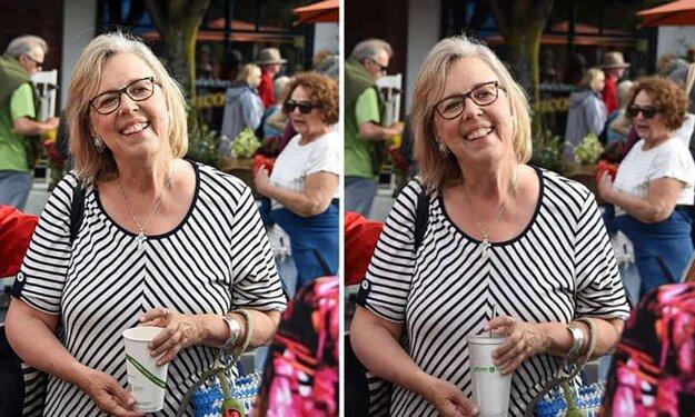 Elizabeth Mayová na pôvodnej a na upravenej fotke.