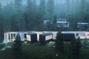 Vizualizácia projektu Björnson Tree Houses v Jasnej.