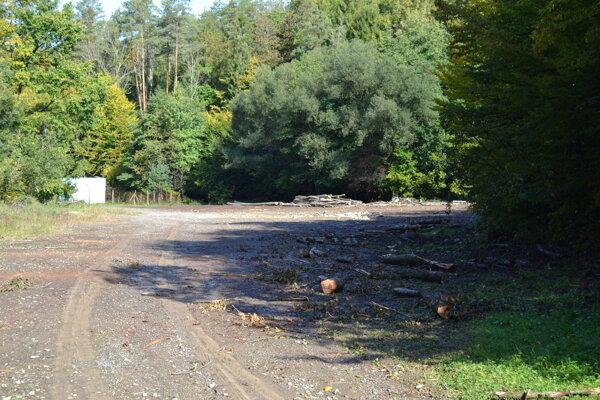 Drevo sa ťaží a skládkuje v blízkosti vodojemov.