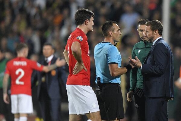 Momentka zo zápasu Bulharsko - Anglicko v kvalifikácii EURO 2020.
