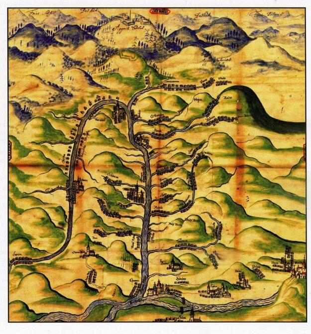 Anonymná mapa Kysúc s vyobrazením Lúpežova asi z prvej polovice 18. stor. (ŠÚBA v BB)