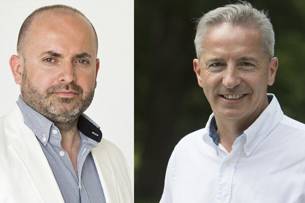 Bývalý šéf televízie Joj František Borovský (vľavo) a bývalý šéf RTVS Václav Mika