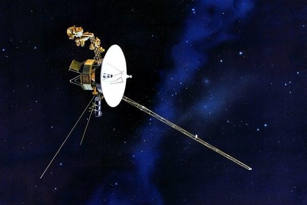 Vizualizácia sondy Voyager 2 vo vesmíre.