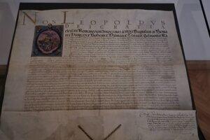 Originál nobilitačnej listiny z roku 1662.