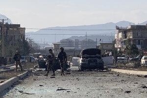 Miesto výbuchu nálože v Kábule.