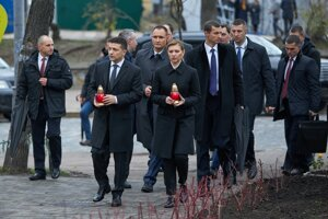 Ukrajinský prezident Volodymyr Zelenskyj so svojou manželkou.
