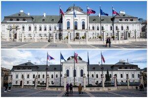 Na fotografii hore Prezidentský palác v roku 2017, spodná fotografia je aktuálna.