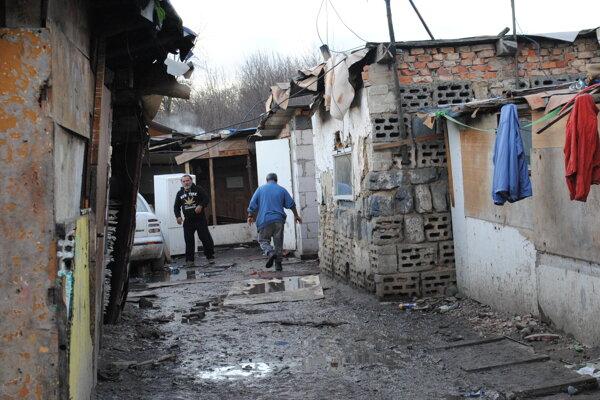 Rómska osada na sídlisku Stráňany v Michalovciach.