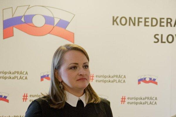 Monika Uhlerová, viceprezidentka Konfederácie odborových zväzov.