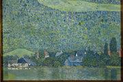 "Olejomaľba Gustava Klimta s názvom ""Litzlberg am Attersee""."