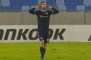 Andraž Šporar oslavuje gól počas záverečného zápasu 6. kola skupinovej fázy Európskej ligy UEFA K-skupiny ŠK Slovan Bratislava – Sporting Braga.