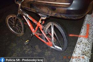 Bicykel, na ktorom sedela obeť nehody.