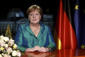 Kancelárka Merkelová počas prejavu.