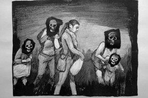"""Záznam z diela """"A Portrait of Berenice Sarmiento Chávez"""" (2018) od Huga Crosthwaitea. Animácia čiernobielych kresieb vyhrala súťaž Outwin Boochever Portrait."""