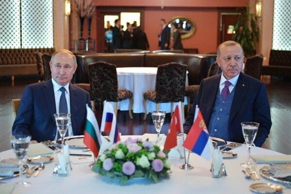 Turecký prezident Recep Tayyip Erdogan a jeho ruský náprotivok Vladimir Putin.
