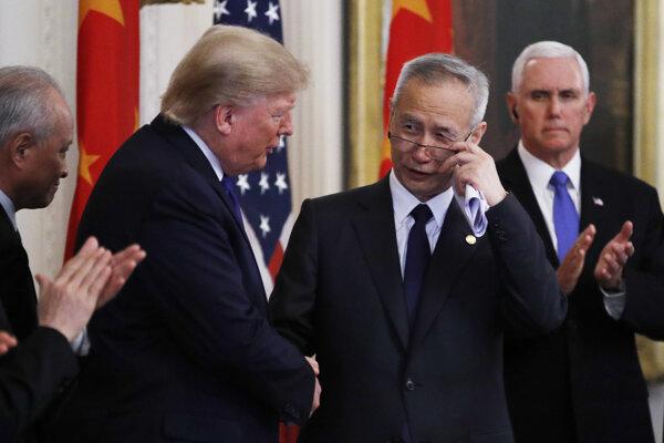 Donald Trump a čínsky vicepremiér Liou Che.
