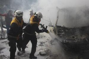 Príslušníci Bielych heliem zasahujú po útoku vládnych síl v Idlibe.