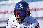 Slovenská lyžiarka Petra Vlhová v cieli druhého kola obrovského slalomu Svetového pohára v alpskom lyžovaní v talianskom stredisku Sestriere.