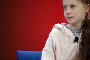 Aktivistka Greta Thunbergová na fóre v Davose.