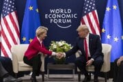 Šéfka Európskej komisie Ursula von der Leyenová a prezident USA Donald Trump.