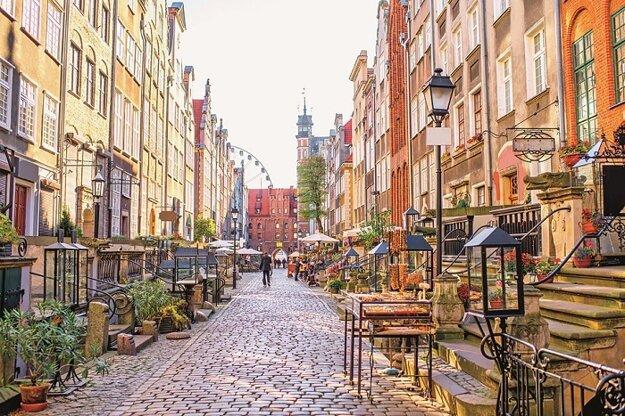 Typická ulička v centre mesta Gdansk