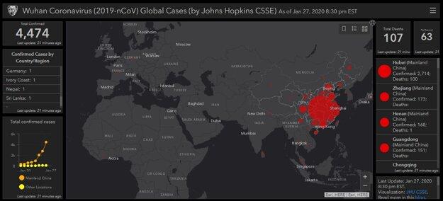 Obrázok interaktívnej mapy, na ktorej sa dá sledovať šírenie koronavírusu.