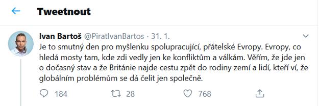 Tvít Ivana Bartoša, šéfa českých Pirátov, k brexizu.