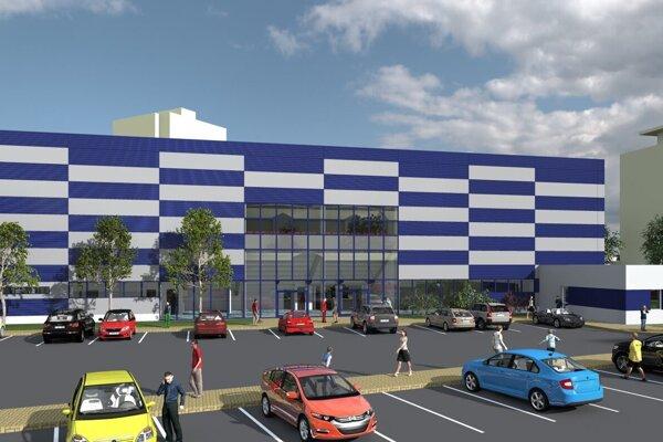 Vizualizácia športovej haly. Bielo-modrá farba sa s veľkou pravdepodobnosťou bude meniť.