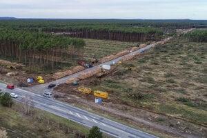 Pohľad na čiastočne odlesnené územie, na ktorom by sa mal postaviť nový závod americkej automobilky Tesla v Grünheide.