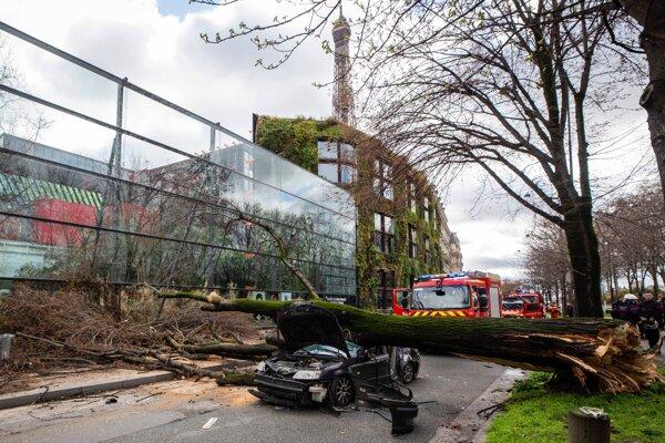 V Paríži spadol neďaleko Eiffelovej veže strom na auto a zabil vodiča.