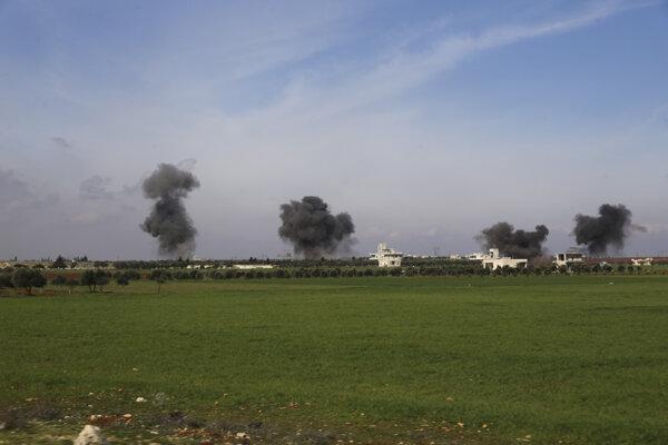 Časť provincie Idlib po leteckom útoku sýrskej armády.