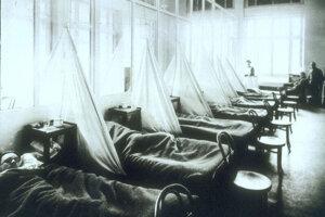 Chorí vojaci v nemocnici na Aix-Les-Bains vo Fracúzsku, približne rok 1918.