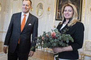 Voľby 2020: Zuzana Čaputová a predseda hnutia Sme rodina Boris Kollár počas stretnutia k výsledkom volieb.