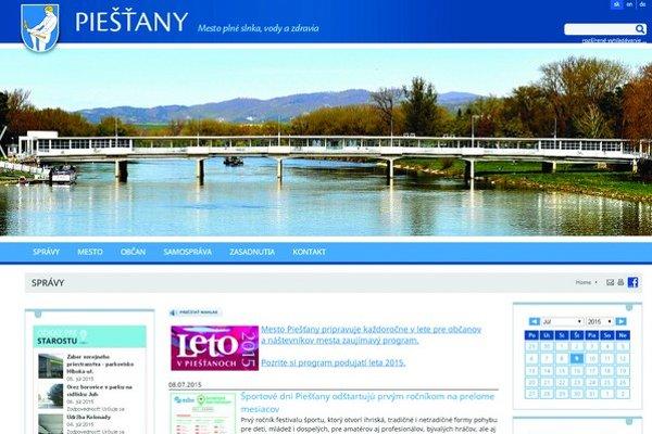 Nová internetová stránka Piešťan. Vedenie mesta nie je spokojné s dizajnom. Za novú stránku zaplatili viac ako 4400 eur. V blízkej budúcnosti plánujú zmeny.
