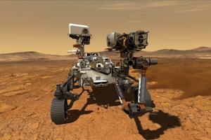 Vizualizácia roveru Perseverance, ktorý na Marse pristane budúci rok, ak pôjde všetko podľa plánu.
