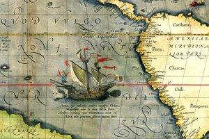 Mapa Tichého oceánu z roku 1589.